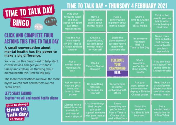 time to talk day bingo