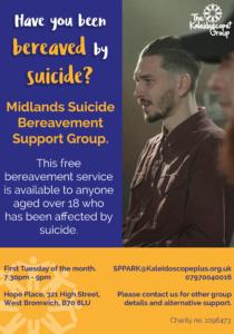 Midlands suicide bereavement support poster